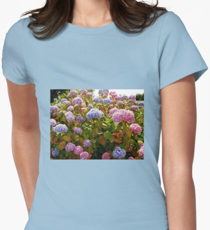 Riot of Hydrangea Blossoms - Pink, Blue and Purple Womens Fitted T-Shirt