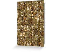 Steampunk Panel, Gears and Pipes - Brass Greeting Card
