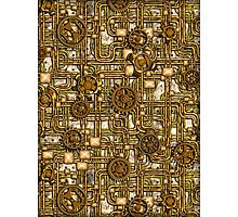 Steampunk Panel, Gears and Pipes - Brass Photographic Print