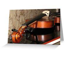 Violin Scroll, Bridge and Tuning Pegs Greeting Card