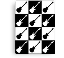 Electric Guitar Checkerboard Canvas Print