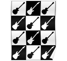 Electric Guitar Checkerboard Poster
