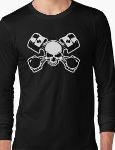 Skull and Crossed Pistons Long Sleeve T-Shirt