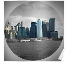 NYC Towers On Water Poster