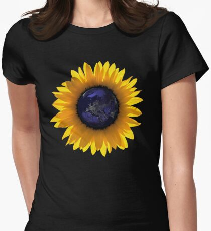 Sunflower Eclipse Earth Sun Womens Fitted T-Shirt