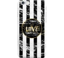 Grunge Love with Black and White Stripes and Gold Accents iPhone Case/Skin