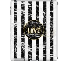 Grunge Love with Black and White Stripes and Gold Accents iPad Case/Skin