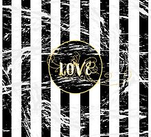 Grunge Love with Black and White Stripes and Gold Accents by ChannyTatum