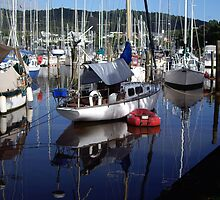 Boat reflections in Marina by Karen Doidge