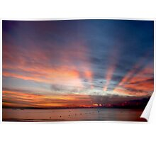 Fiji sunset from the beach Poster