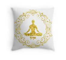 Yoga Golden Throw Pillow