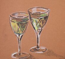 Two Glasses of White by Alan Hogan