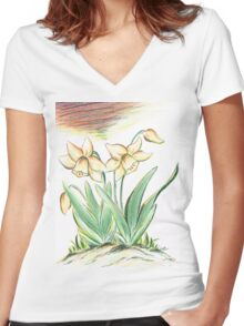 Glorious Daffodils Women's Fitted V-Neck T-Shirt