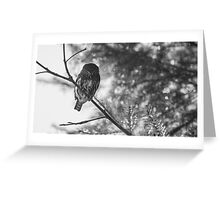 Owl in the Pixel Snow Greeting Card