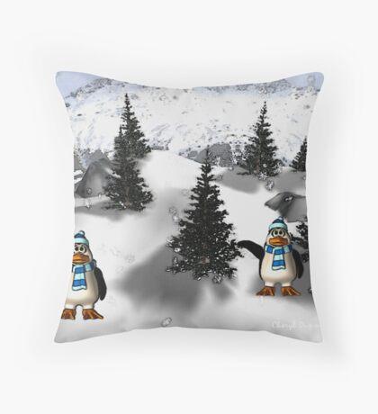happy penguins Throw Pillow