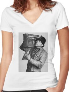 LL Cool J B/W Women's Fitted V-Neck T-Shirt