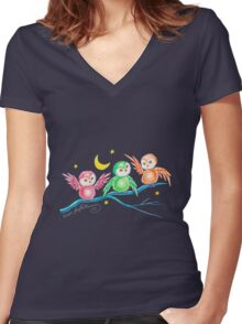 We Three Owls (T-Shirt) Women's Fitted V-Neck T-Shirt