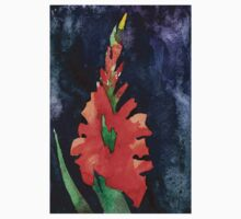 watercolor drawing of red gladiolus Kids Tee