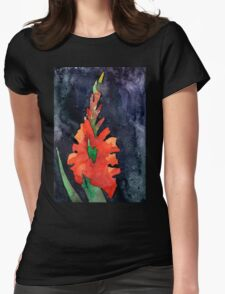 watercolor drawing of red gladiolus Womens Fitted T-Shirt