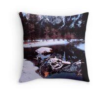 WINTER, MERCED RIVER Throw Pillow