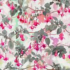 Rainbow Fuchsia Floral Pattern - with grey by micklyn