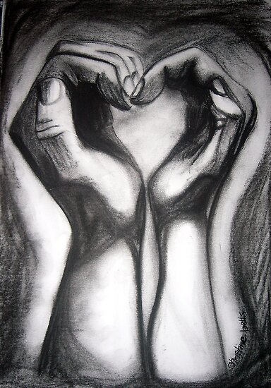 Two Hands/One Heart - charcoal by ChristineBetts