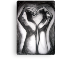Two Hands/One Heart - charcoal Canvas Print