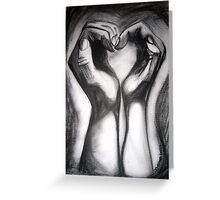 Two Hands/One Heart - charcoal Greeting Card