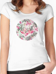 Rainbow Fuchsia Floral Pattern - with grey Women's Fitted Scoop T-Shirt