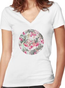 Rainbow Fuchsia Floral Pattern - with grey Women's Fitted V-Neck T-Shirt