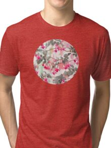 Rainbow Fuchsia Floral Pattern - with grey Tri-blend T-Shirt