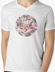 Rainbow Fuchsia Floral Pattern - with grey Mens V-Neck T-Shirt