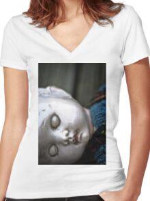 sleeping Women's Fitted V-Neck T-Shirt