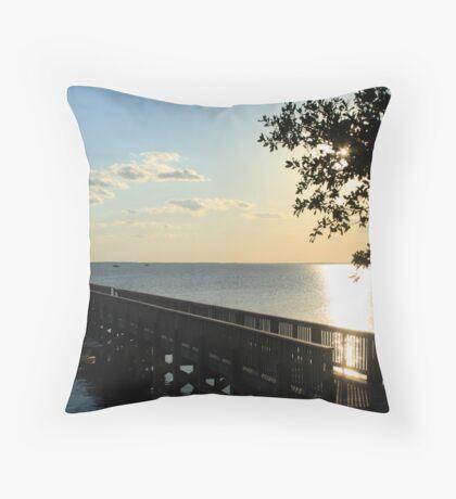 Currituck Pier at Sunset Throw Pillow
