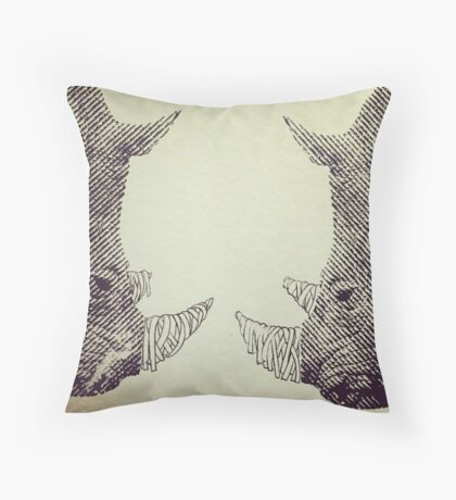 twin rhinos Throw Pillow