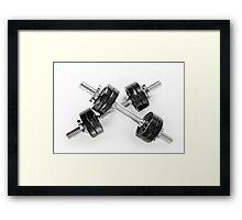 Crossed chrome hand barbells Framed Print