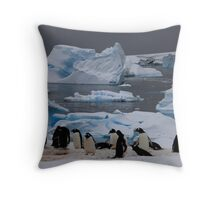 Gentoo Penguin Colony, Antarctic Peninsula Throw Pillow