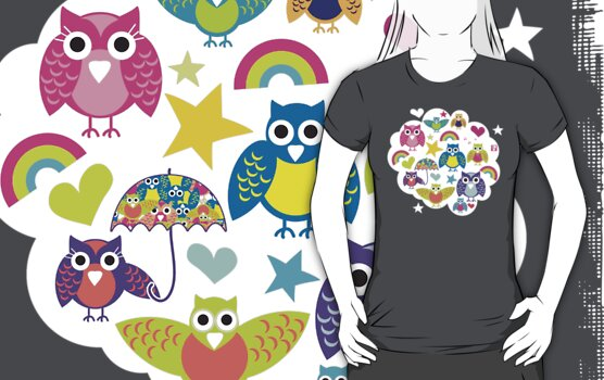 Owl cloud T-shirt  by teegs