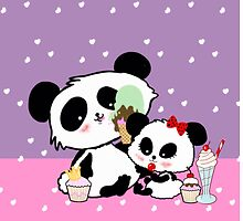 Pandas having a picnic, so kawaii by Cartoonistlg