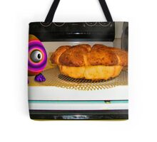 Saturated Egg Man Inspecting the Bread Bake Tote Bag