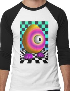 Saturated Egg Man on the Chess Board Men's Baseball ¾ T-Shirt