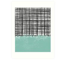 Mila - Grid and mint - paint, art, artist cell phone case, grid phone case Art Print
