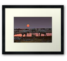 SUNSET WITH ELEPHANTS Framed Print