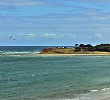 Kitesurfing off Point Danger, Torquay, Australia by Andy Berry