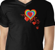 squiggle rainbow hearts Mens V-Neck T-Shirt
