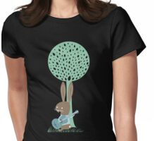Cute singing acoustic guitar bunny rabbit Womens Fitted T-Shirt