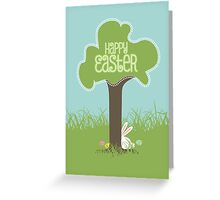 Easter bunny Easter eggs hiding behind tree Greeting Card