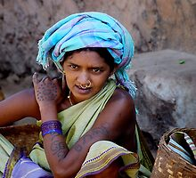TRIBAL GIRL WITH TATTOOS - ORISSA by Michael Sheridan