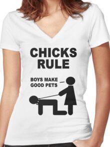 Chicks Rule Boys Make Good Pets Women's Fitted V-Neck T-Shirt
