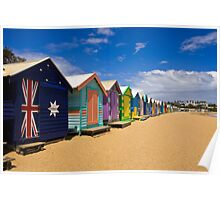 Brighton Beach bathing boxes Poster